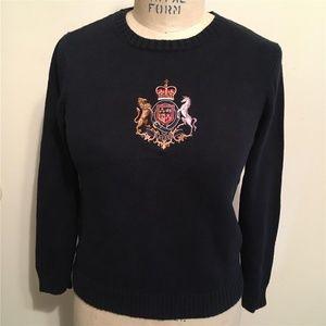 LAUREN Navy Blue Crested Sweater S